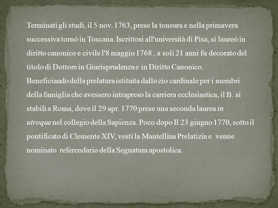 Terminati gli studi, il 5 nov. 1763, prese la tonsura e nella primavera successiva tornò in Toscana. Iscrittosi all'università di Pisa, si laureò in d