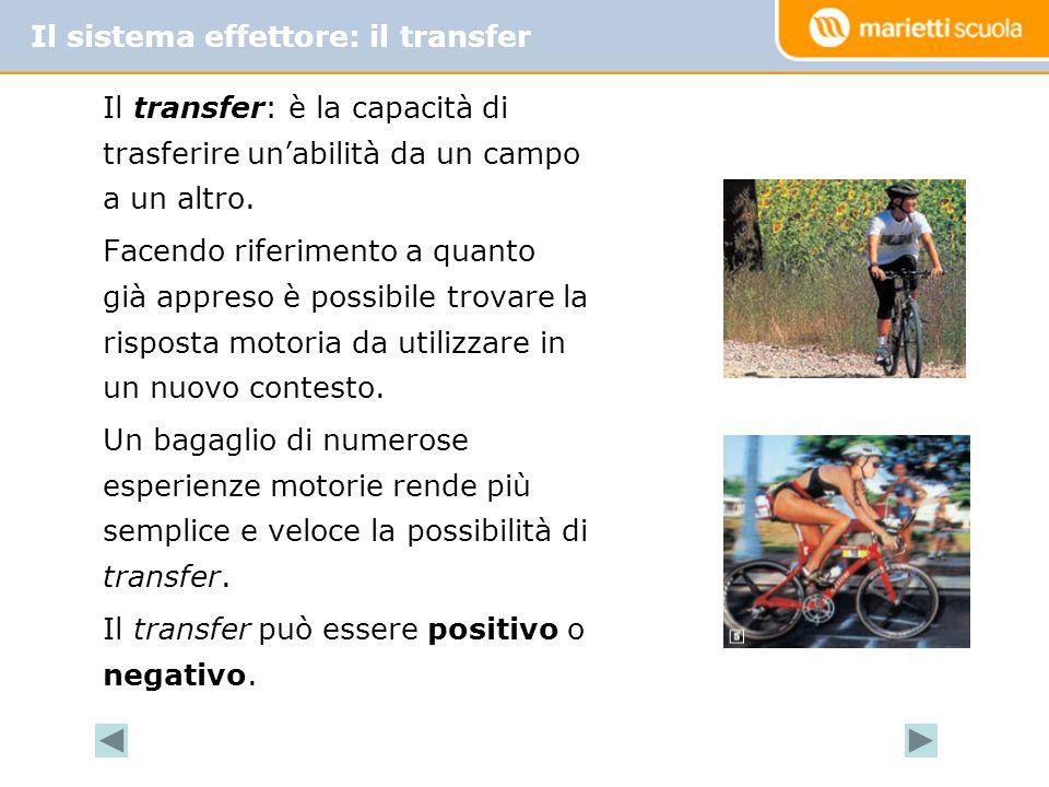 Il transfer: è la capacità di trasferire un'abilità da un campo a un altro. Facendo riferimento a quanto già appreso è possibile trovare la risposta m