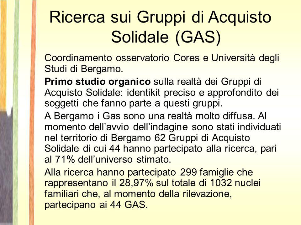 Ricerca sui Gruppi di Acquisto Solidale (GAS) Coordinamento osservatorio Cores e Università degli Studi di Bergamo.