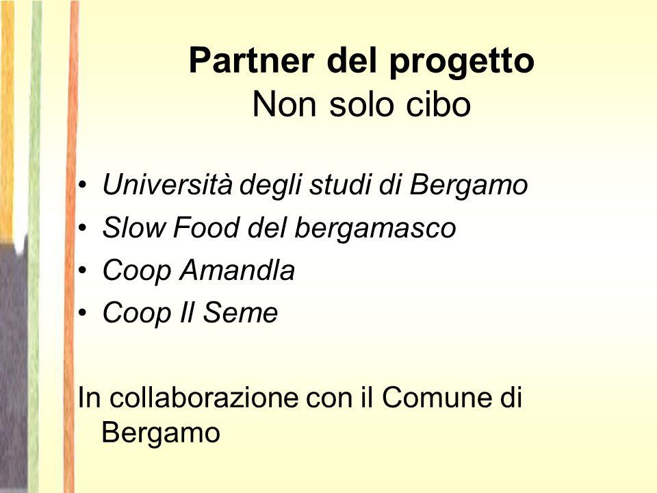 Partner del progetto Non solo cibo Università degli studi di Bergamo Slow Food del bergamasco Coop Amandla Coop Il Seme In collaborazione con il Comune di Bergamo