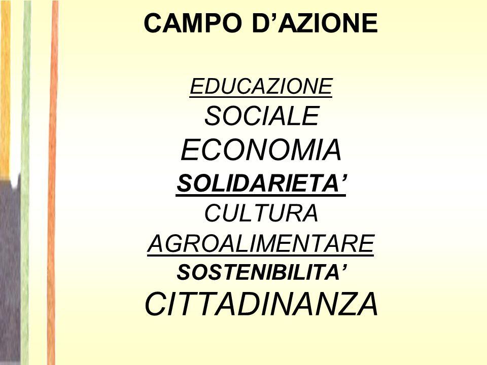 CAMPO D'AZIONE EDUCAZIONE SOCIALE ECONOMIA SOLIDARIETA' CULTURAAGROALIMENTARE SOSTENIBILITA' CITTADINANZA