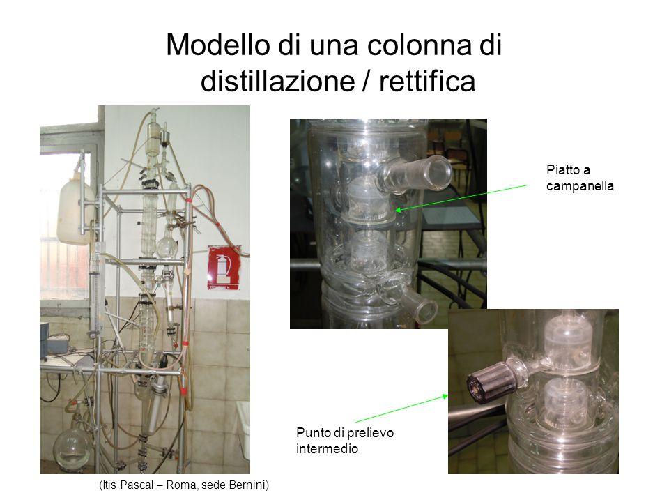 Modello di una colonna di distillazione / rettifica Piatto a campanella Punto di prelievo intermedio (Itis Pascal – Roma, sede Bernini)
