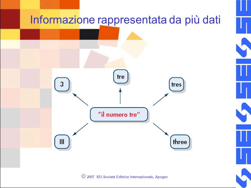 © 2007 SEI-Società Editrice Internazionale, Apogeo Informazione rappresentata da più dati
