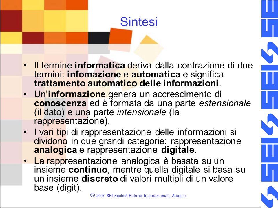 © 2007 SEI-Società Editrice Internazionale, Apogeo Sintesi Il termine informatica deriva dalla contrazione di due termini: infomazione e automatica e significa trattamento automatico delle informazioni.