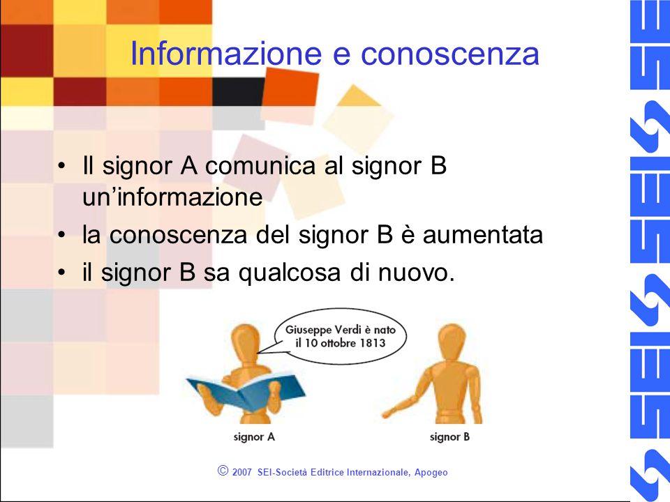 © 2007 SEI-Società Editrice Internazionale, Apogeo Informazione e conoscenza Il signor A comunica al signor B un'informazione la conoscenza del signor B è aumentata il signor B sa qualcosa di nuovo.