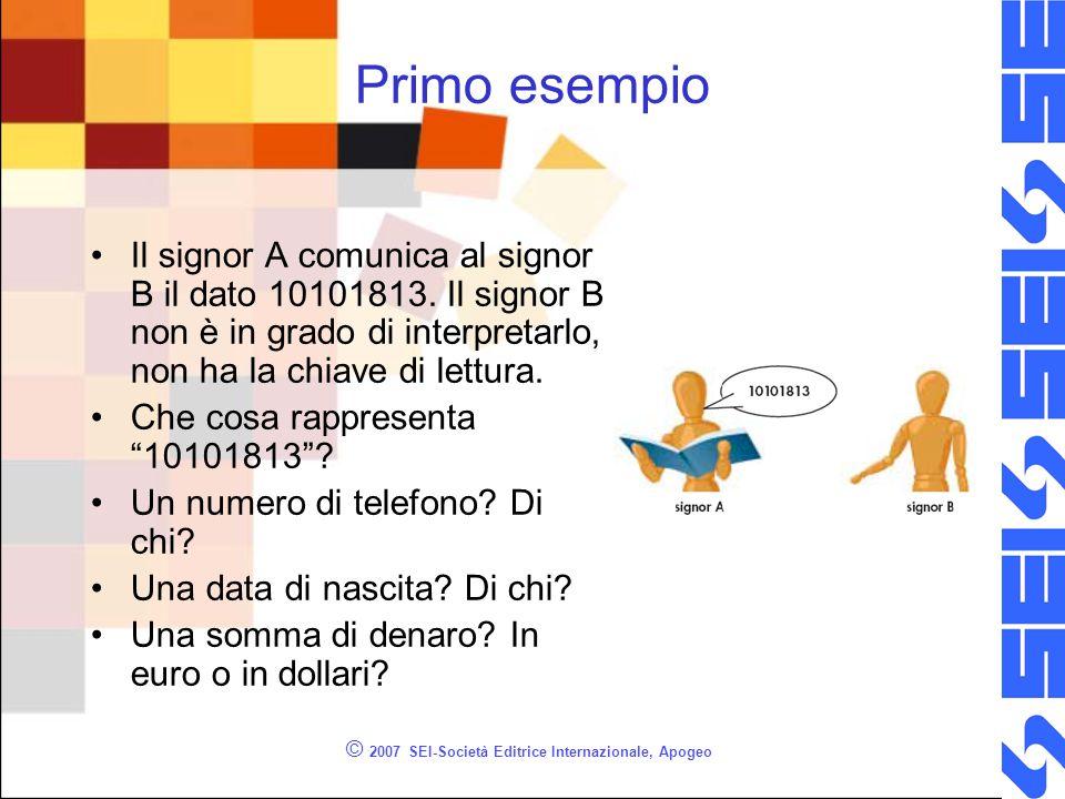 © 2007 SEI-Società Editrice Internazionale, Apogeo Primo esempio Il signor A comunica al signor B il dato 10101813.