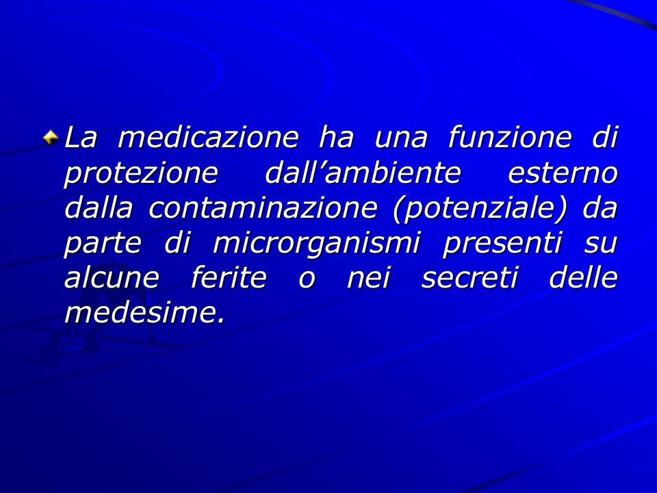 La medicazione ha una funzione di protezione dall'ambiente esterno dalla contaminazione (potenziale) da parte di microrganismi presenti su alcune feri