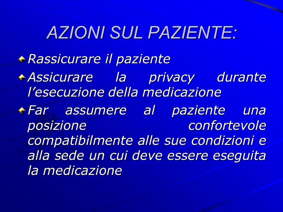 AZIONI SUL PAZIENTE: Rassicurare il paziente Assicurare la privacy durante l'esecuzione della medicazione Far assumere al paziente una posizione confo