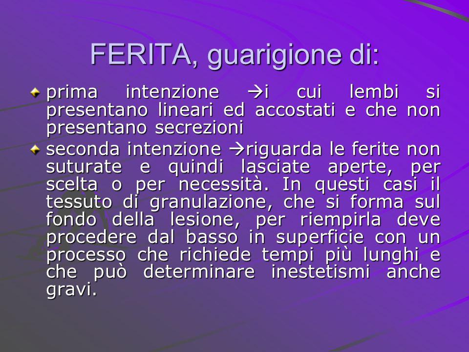 FERITA, guarigione di: prima intenzione  i cui lembi si presentano lineari ed accostati e che non presentano secrezioni seconda intenzione  riguarda