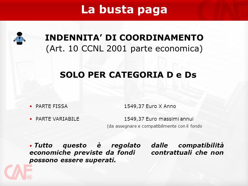 La busta paga SOLO PER CATEGORIA D e Ds PARTE FISSA 1549,37 Euro X Anno PARTE VARIABILE1549,37 Euro massimi annui Tutto questo è regolato dalle compat