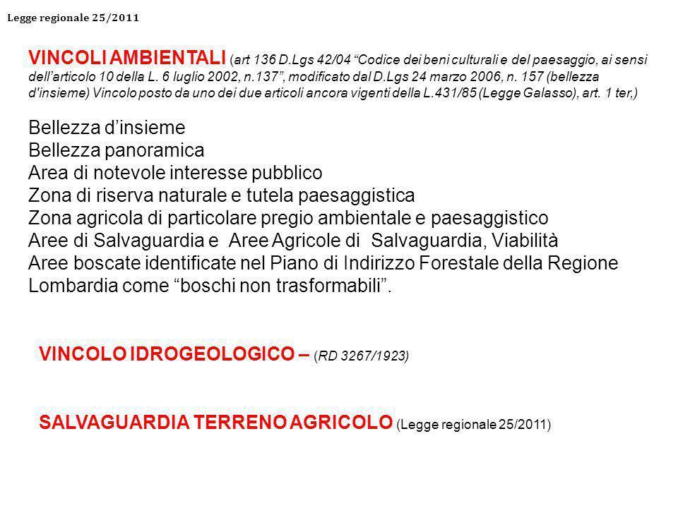 VINCOLI AMBIENTALI (art 136 D.Lgs 42/04 Codice dei beni culturali e del paesaggio, ai sensi dell'articolo 10 della L.