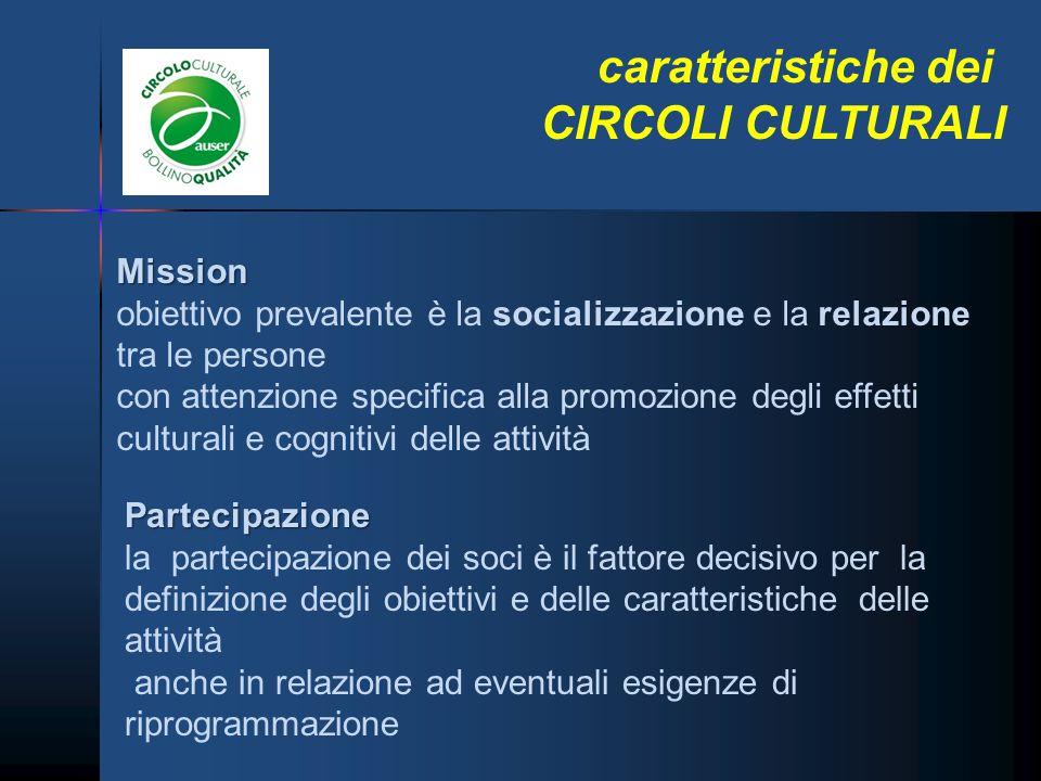 caratteristiche dei CIRCOLI CULTURALI Mission obiettivo prevalente è la socializzazione e la relazione tra le persone con attenzione specifica alla pr