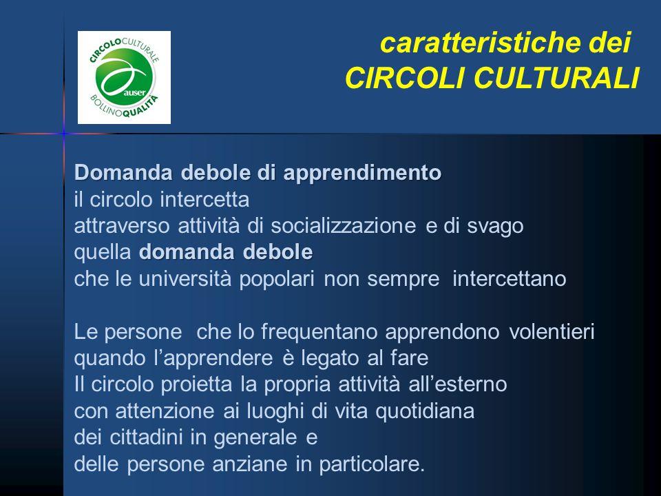 caratteristiche dei CIRCOLI CULTURALI Domanda debole di apprendimento il circolo intercetta attraverso attività di socializzazione e di svago domanda
