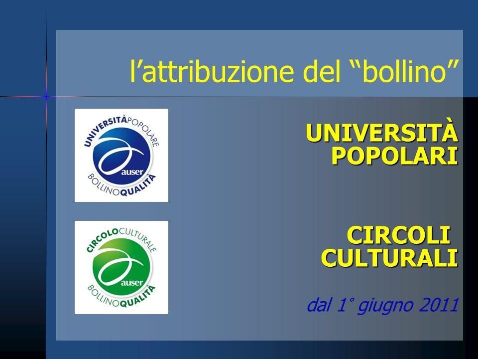 """l'attribuzione del """"bollino""""UNIVERSITÀ POPOLARI POPOLARICIRCOLICULTURALI dal 1° giugno 2011"""