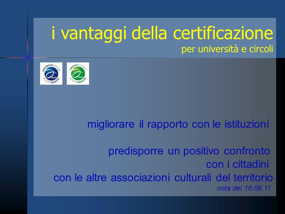 i vantaggi della certificazione per università e circoli migliorare il rapporto con le istituzioni predisporre un positivo confronto con i cittadini c