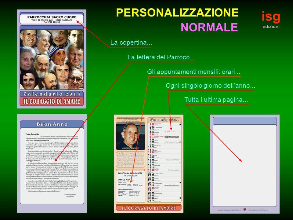 isg edizioni PERSONALIZZAZIONE La copertina... La lettera del Parroco...