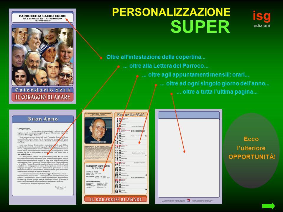 isg edizioni PERSONALIZZAZIONE Oltre all'intestazione della copertina......
