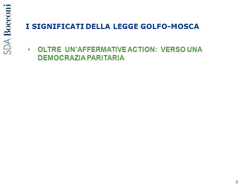 OLTRE UN'AFFERMATIVE ACTION: VERSO UNA DEMOCRAZIA PARITARIA 6 I SIGNIFICATI DELLA LEGGE GOLFO-MOSCA
