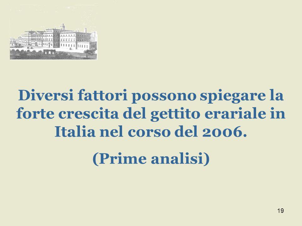 19 Diversi fattori possono spiegare la forte crescita del gettito erariale in Italia nel corso del 2006.