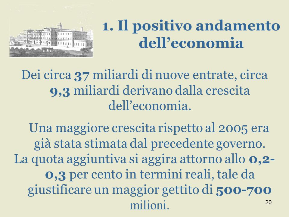 20 Dei circa 37 miliardi di nuove entrate, circa 9,3 miliardi derivano dalla crescita dell'economia. Una maggiore crescita rispetto al 2005 era già st