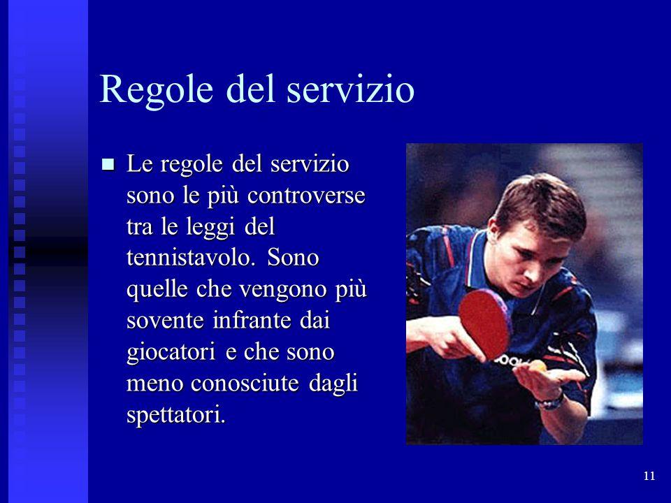 11 Regole del servizio Le regole del servizio sono le più controverse tra le leggi del tennistavolo. Sono quelle che vengono più sovente infrante dai