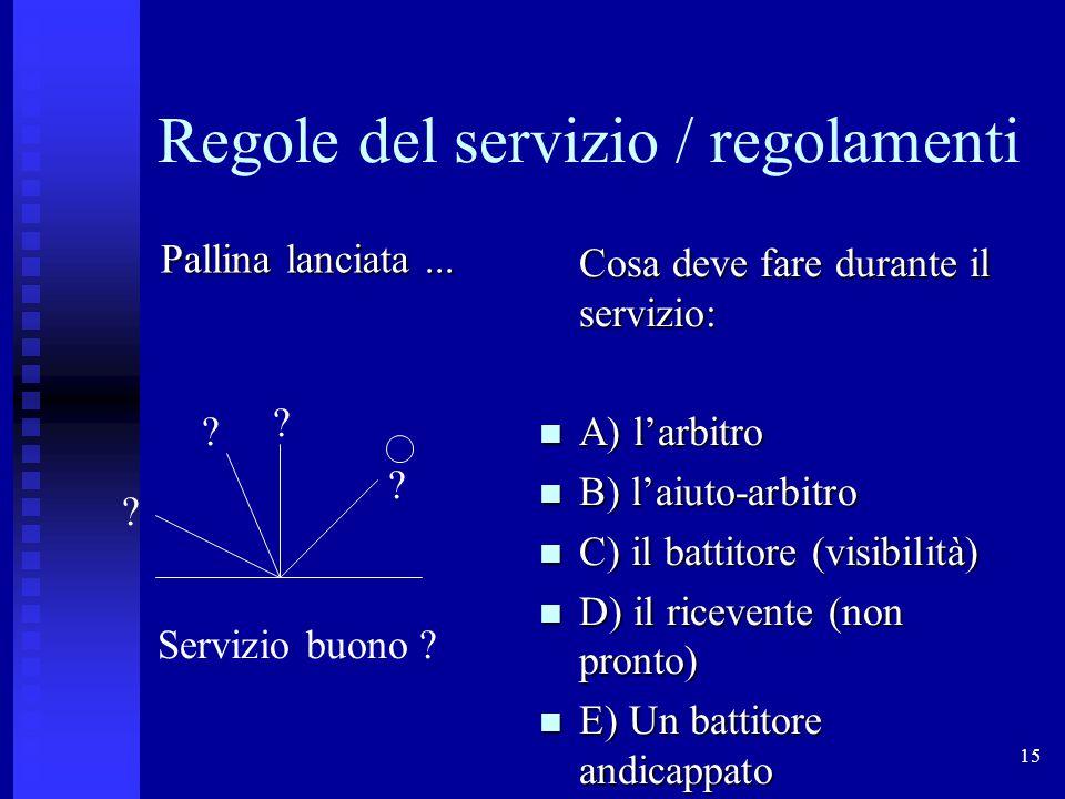 15 Regole del servizio / regolamenti Cosa deve fare durante il servizio: A) l'arbitro A) l'arbitro B) l'aiuto-arbitro B) l'aiuto-arbitro C) il battito