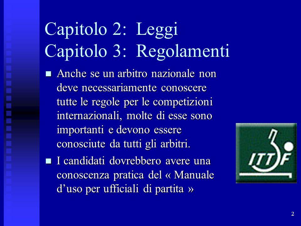 2 Capitolo 2: Leggi Capitolo 3: Regolamenti Anche se un arbitro nazionale non deve necessariamente conoscere tutte le regole per le competizioni internazionali, molte di esse sono importanti e devono essere conosciute da tutti gli arbitri.