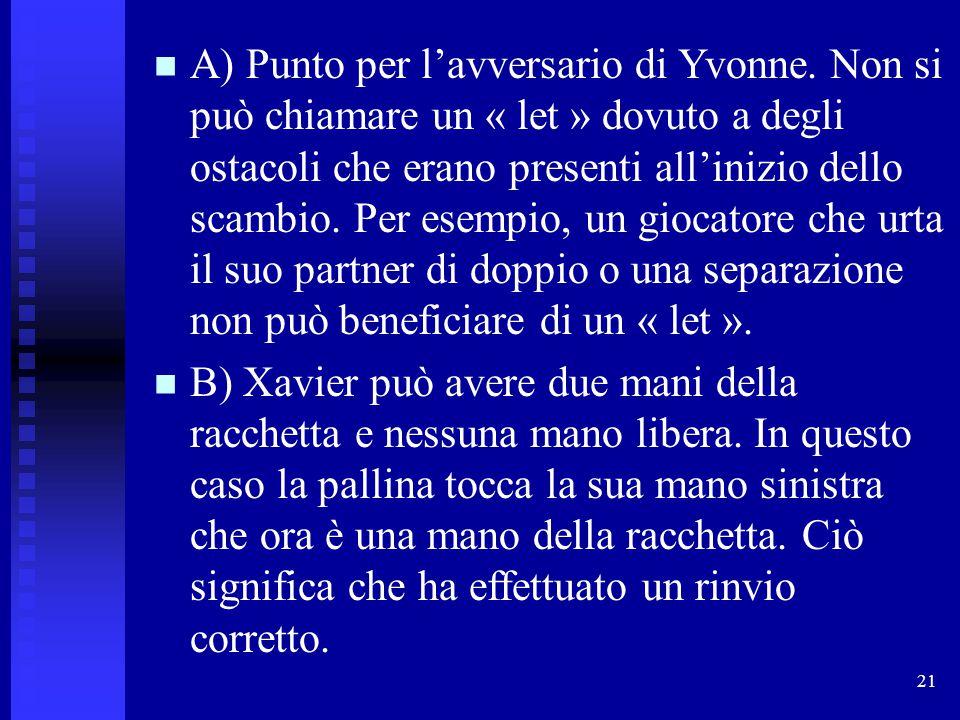 21 A) Punto per l'avversario di Yvonne. Non si può chiamare un « let » dovuto a degli ostacoli che erano presenti all'inizio dello scambio. Per esempi