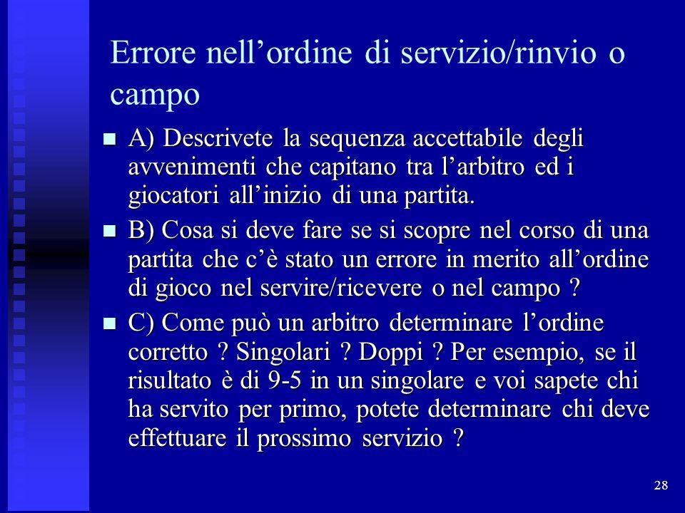 28 Errore nell'ordine di servizio/rinvio o campo A) Descrivete la sequenza accettabile degli avvenimenti che capitano tra l'arbitro ed i giocatori all'inizio di una partita.