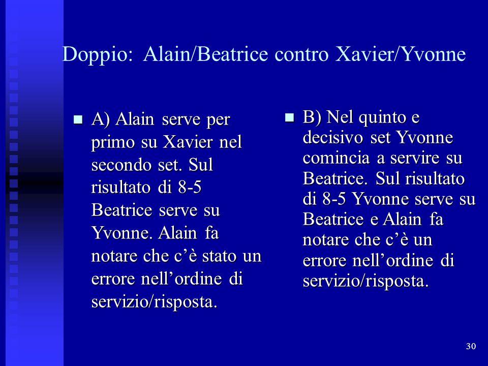 30 Doppio: Alain/Beatrice contro Xavier/Yvonne A) Alain serve per primo su Xavier nel secondo set. Sul risultato di 8-5 Beatrice serve su Yvonne. Alai