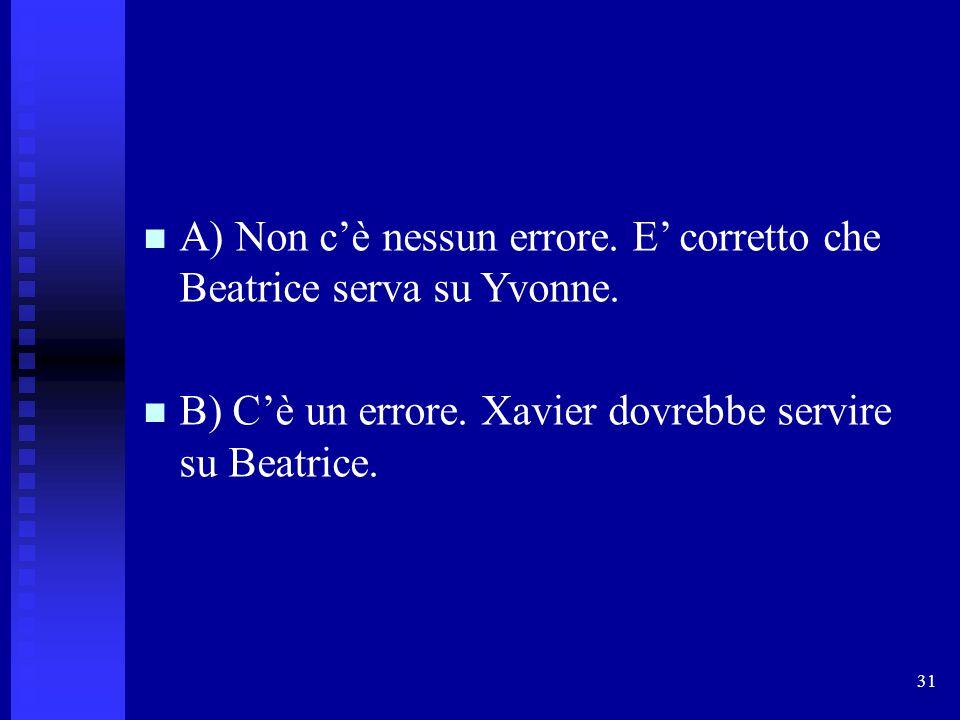 31 A) Non c'è nessun errore. E' corretto che Beatrice serva su Yvonne. B) C'è un errore. Xavier dovrebbe servire su Beatrice.