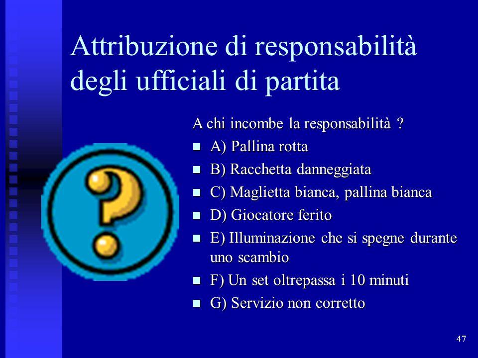 47 Attribuzione di responsabilità degli ufficiali di partita A chi incombe la responsabilità .