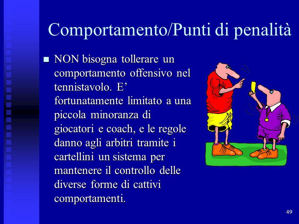 49 Comportamento/Punti di penalità NON bisogna tollerare un comportamento offensivo nel tennistavolo. E' fortunatamente limitato a una piccola minoran