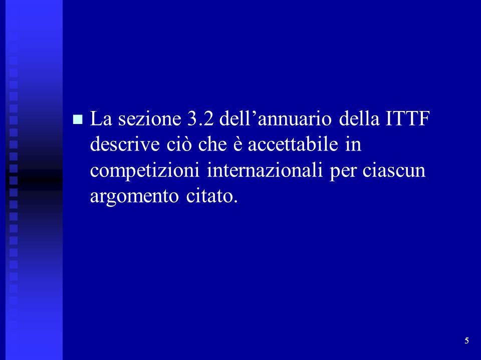 5 La sezione 3.2 dell'annuario della ITTF descrive ciò che è accettabile in competizioni internazionali per ciascun argomento citato.
