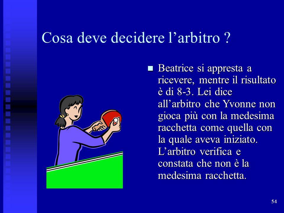 54 Cosa deve decidere l'arbitro .Beatrice si appresta a ricevere, mentre il risultato è di 8-3.