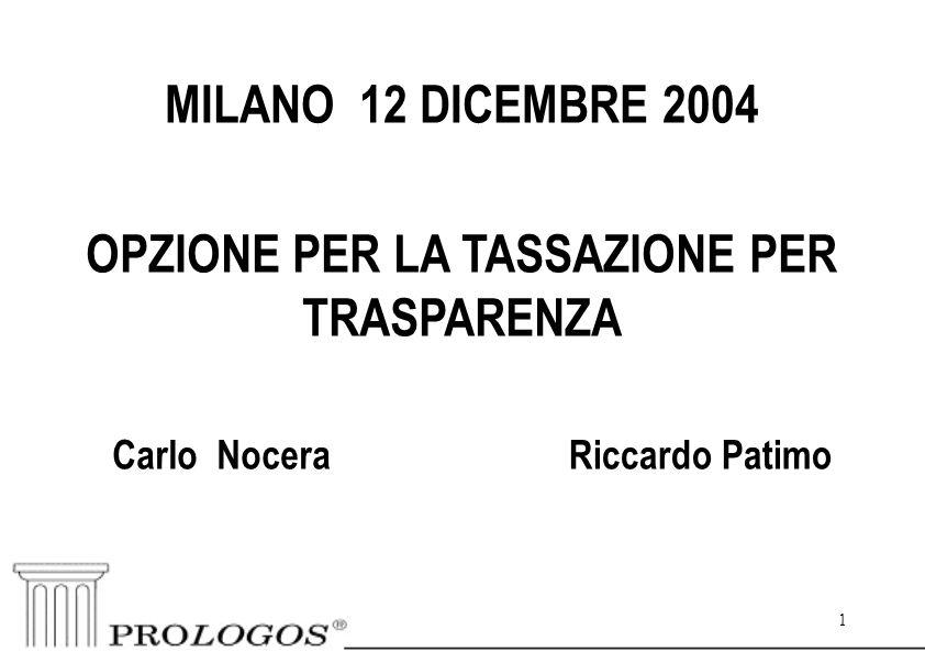1 MILANO 12 DICEMBRE 2004 Riccardo Patimo OPZIONE PER LA TASSAZIONE PER TRASPARENZA Carlo Nocera