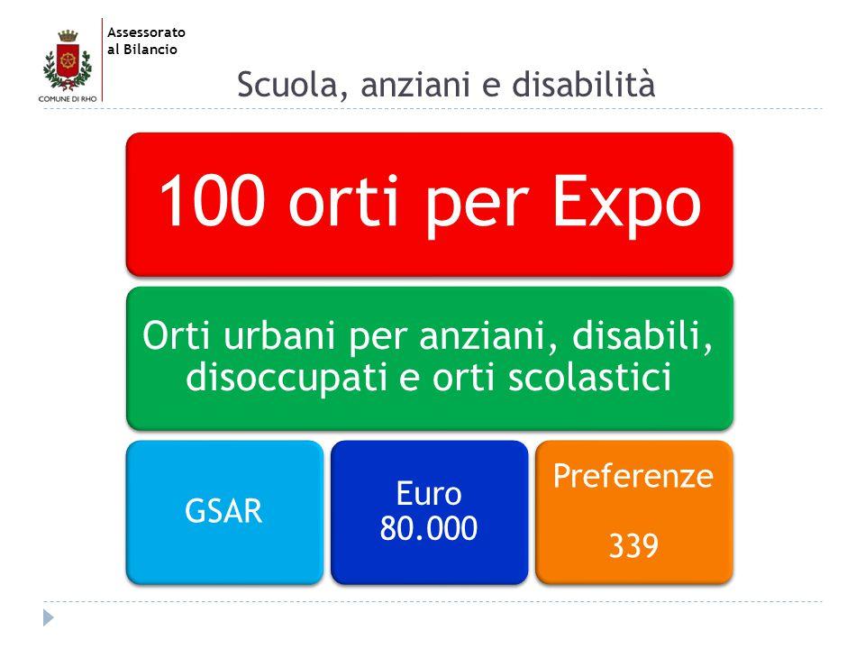 Assessorato al Bilancio Scuola, anziani e disabilità 100 orti per Expo Orti urbani per anziani, disabili, disoccupati e orti scolastici GSAR Euro 80.000 Preferenze 339