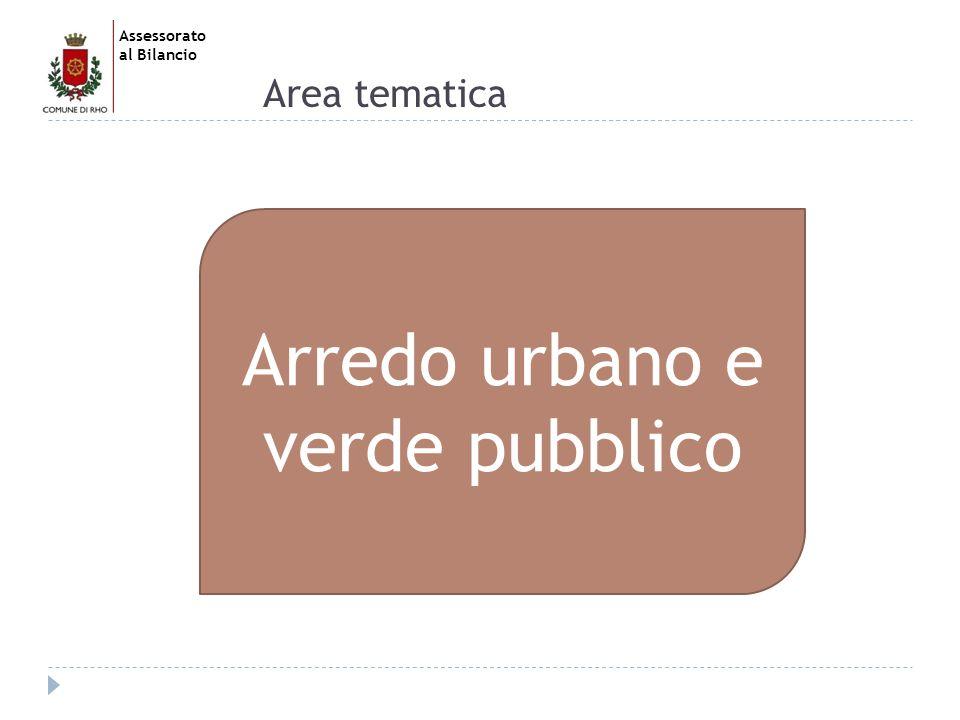 Assessorato al Bilancio Area tematica Arredo urbano e verde pubblico