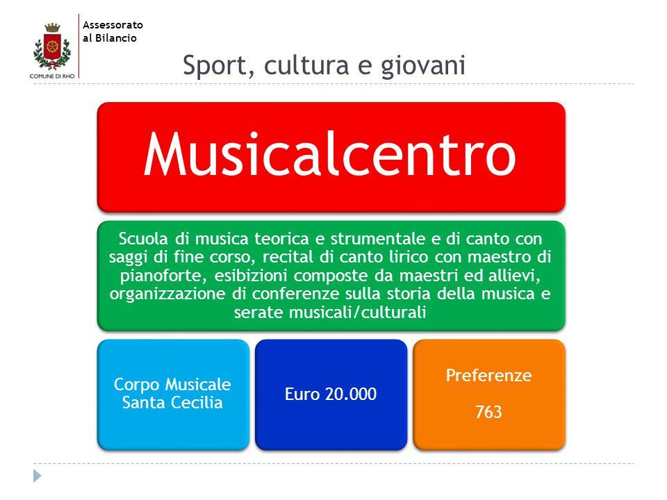 Assessorato al Bilancio Sport, cultura e giovani Musichiamo la città Organizzazione eventi musicali mirati alla valorizzazione di diversi generi musicali, soprattutto il jazz oltre al rinnovo dell organico strumentale del Corpo musicale Banda di RhoEuro 42.000 Preferenze 596
