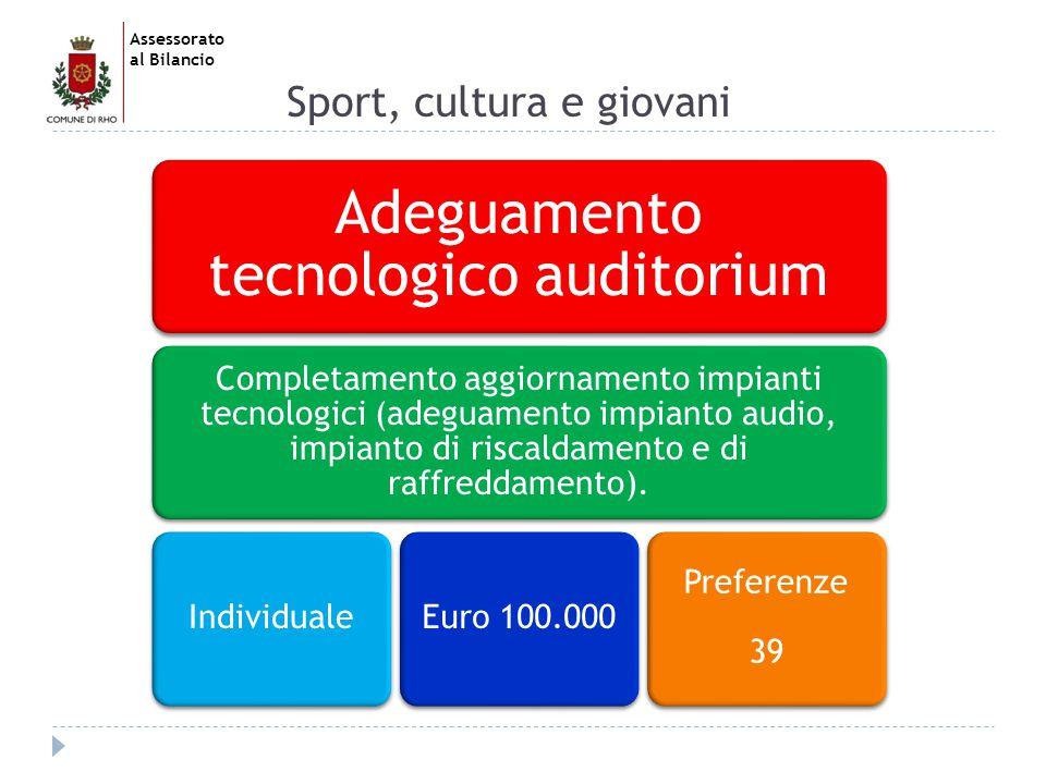 Assessorato al Bilancio Sport, cultura e giovani Adeguamento tecnologico auditorium Completamento aggiornamento impianti tecnologici (adeguamento impianto audio, impianto di riscaldamento e di raffreddamento).