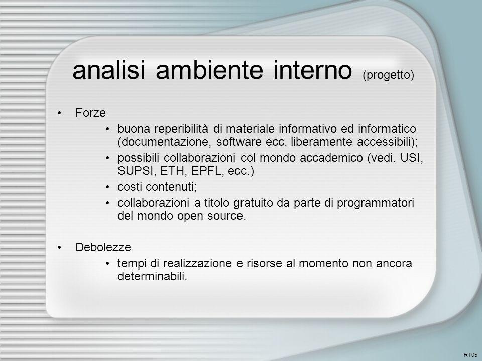 analisi ambiente interno (progetto) Forze buona reperibilità di materiale informativo ed informatico (documentazione, software ecc.