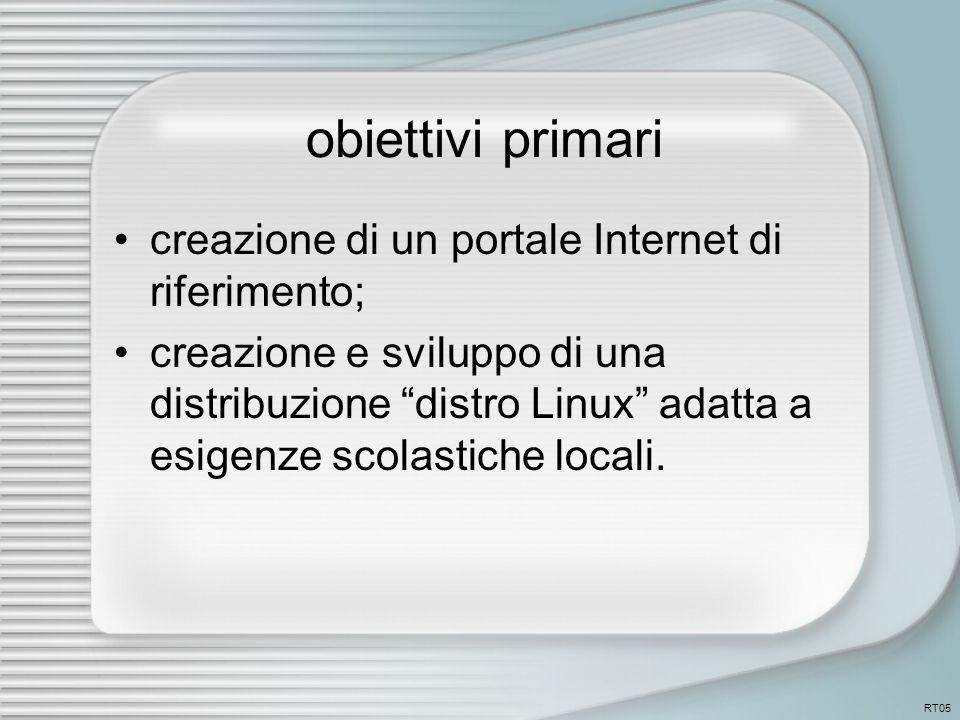 obiettivi primari creazione di un portale Internet di riferimento; creazione e sviluppo di una distribuzione distro Linux adatta a esigenze scolastiche locali.