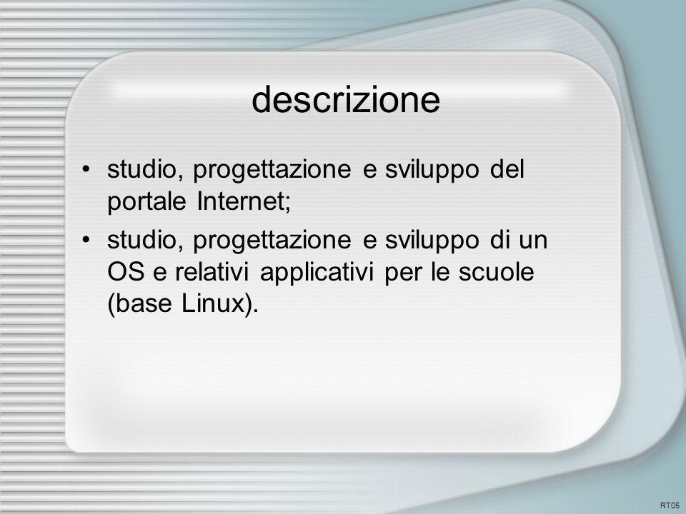 descrizione studio, progettazione e sviluppo del portale Internet; studio, progettazione e sviluppo di un OS e relativi applicativi per le scuole (base Linux).