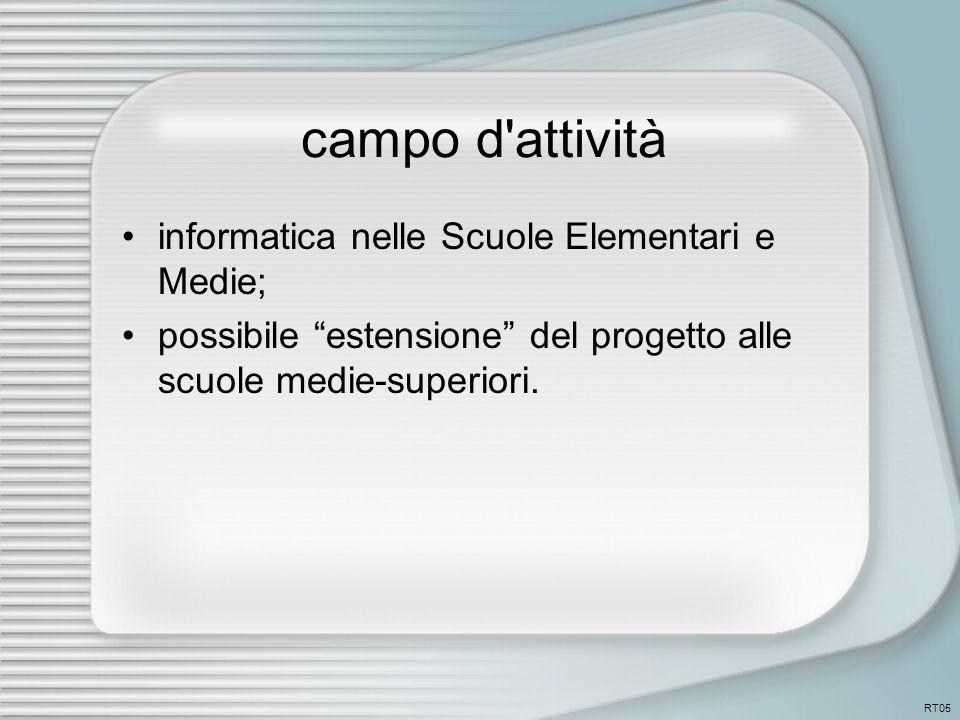 campo d attività informatica nelle Scuole Elementari e Medie; possibile estensione del progetto alle scuole medie-superiori.