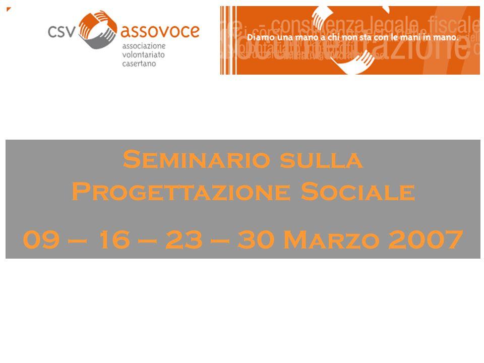 Seminario sulla Progettazione Sociale 09 – 16 – 23 – 30 Marzo 2007
