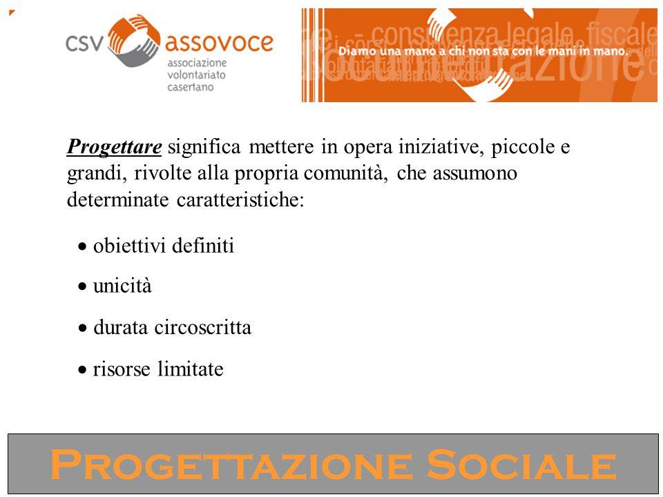 Progettazione Sociale Progettare significa mettere in opera iniziative, piccole e grandi, rivolte alla propria comunità, che assumono determinate caratteristiche:  obiettivi definiti  unicità  durata circoscritta  risorse limitate
