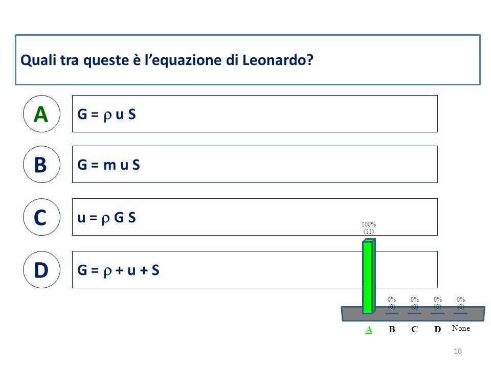 Quali tra queste è l'equazione di Leonardo.