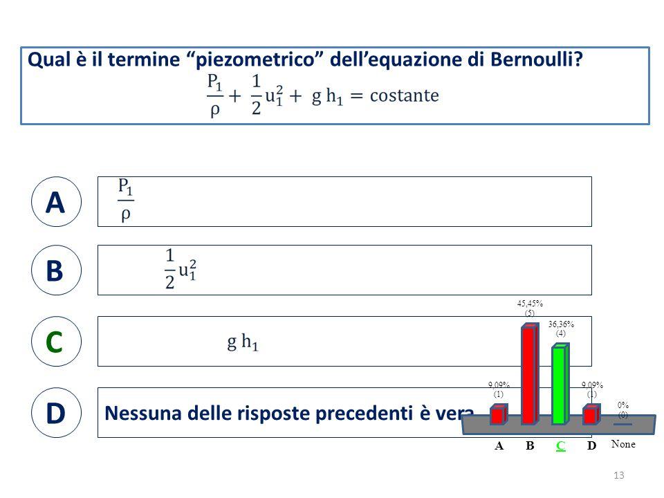 Qual è il termine piezometrico dell'equazione di Bernoulli.