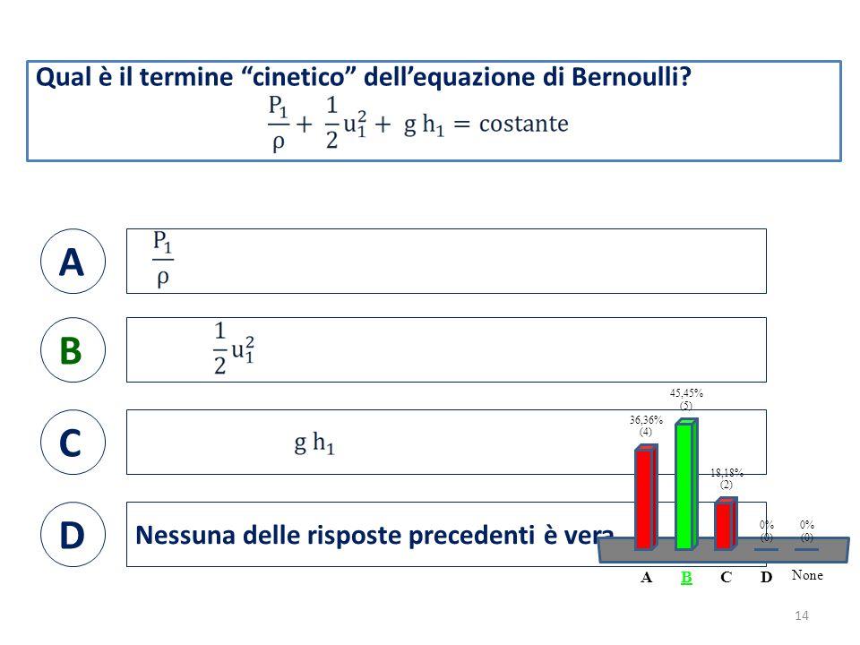 Qual è il termine cinetico dell'equazione di Bernoulli.
