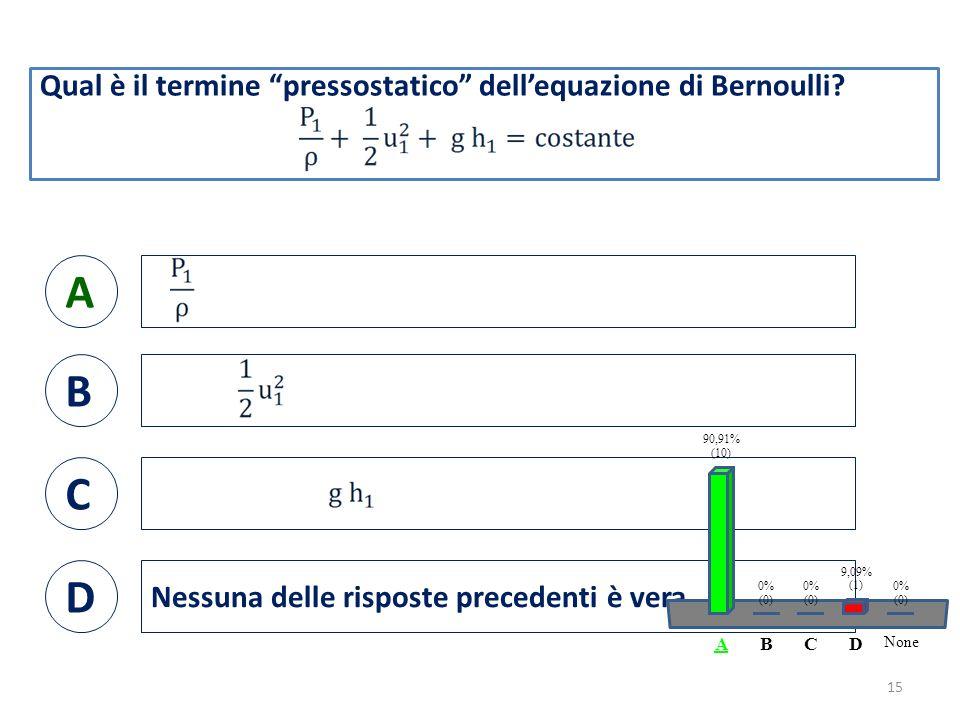 Qual è il termine pressostatico dell'equazione di Bernoulli.